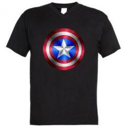 Мужская футболка  с V-образным вырезом Щит Капитана Америка - FatLine