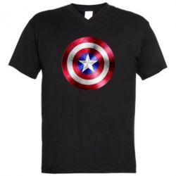 Мужская футболка  с V-образным вырезом Щит кэпа - FatLine