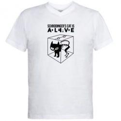 Мужская футболка  с V-образным вырезом Schrodinger's cat is alive - FatLine
