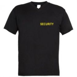 Мужская футболка  с V-образным вырезом Security