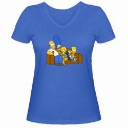 Женская футболка с V-образным вырезом Семейство Симпсонов - FatLine