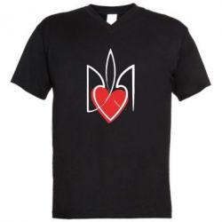 Мужская футболка  с V-образным вырезом Серце з гербом - FatLine