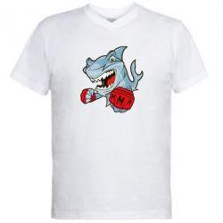 Мужская футболка  с V-образным вырезом Shark MMA - FatLine