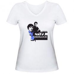 Женская футболка с V-образным вырезом Sherlock (Шерлок Холмс) - FatLine