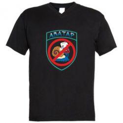 Мужская футболка  с V-образным вырезом Шеврон Анти Аватар - FatLine