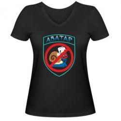 Женская футболка с V-образным вырезом Шеврон Анти Аватар - FatLine