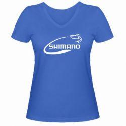 Женская футболка с V-образным вырезом Shimano - FatLine