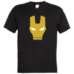 Мужская футболка  с V-образным вырезом Шлем Железного Человека - FatLine