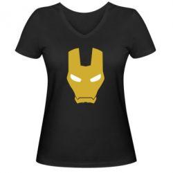 Женская футболка с V-образным вырезом Шлем Железного Человека - FatLine