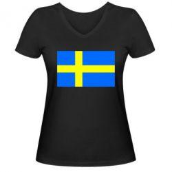 Женская футболка с V-образным вырезом Швеция - FatLine