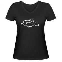 Женская футболка с V-образным вырезом Силуэт рыбы - FatLine