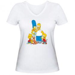 Женская футболка с V-образным вырезом Simpsons Family - FatLine