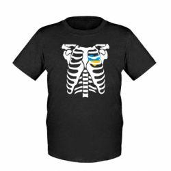 Детская футболка Скелет з сердцем Україна - FatLine