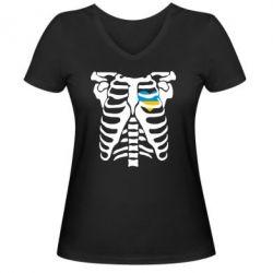 Женская футболка с V-образным вырезом Скелет з сердцем Україна - FatLine