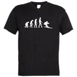 Мужская футболка  с V-образным вырезом Ski evolution - FatLine