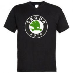 Мужская футболка  с V-образным вырезом Skoda Auto - FatLine