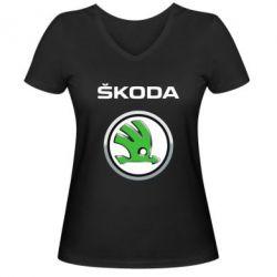 Женская футболка с V-образным вырезом Skoda Logo 3D