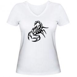 Женская футболка с V-образным вырезом скорпион 2 - FatLine