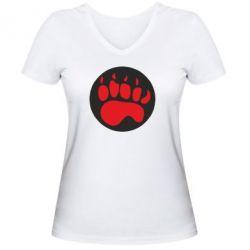 Женская футболка с V-образным вырезом след - FatLine