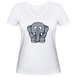 Женская футболка с V-образным вырезом Слоник - FatLine