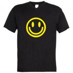 Мужская футболка  с V-образным вырезом Смайлик - FatLine