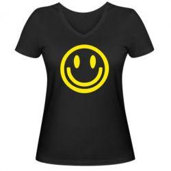 Женская футболка с V-образным вырезом Смайлик - FatLine