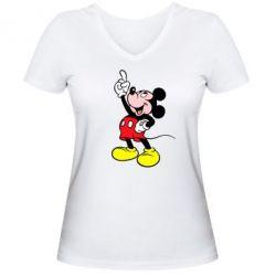 Женская футболка с V-образным вырезом Смотри вверх - FatLine