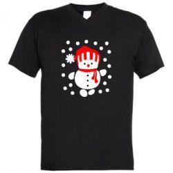 Мужская футболка  с V-образным вырезом Снеговик в шапке - FatLine