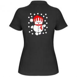Женская футболка поло Снеговик в шапке - FatLine
