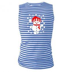 Майка-тельняшка Снеговик в шапке - FatLine