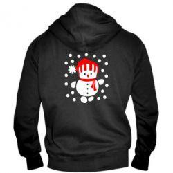 Мужская толстовка на молнии Снеговик в шапке - FatLine