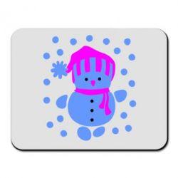 Коврик для мыши Снеговик в шапке - FatLine
