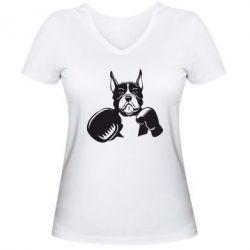 Женская футболка с V-образным вырезом Собака в боксерских перчатках - FatLine