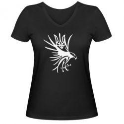Женская футболка с V-образным вырезом Сокіл та герб України - FatLine