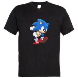 Мужская футболка  с V-образным вырезом Sonic 3d - FatLine