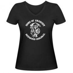 Женская футболка с V-образным вырезом Sons of Anarchy - FatLine