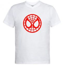 Мужская футболка  с V-образным вырезом Спайдермен лого - FatLine