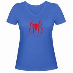 Женская футболка с V-образным вырезом Spider Man Logo - FatLine