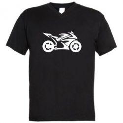 Мужская футболка  с V-образным вырезом Спортивный байк - FatLine