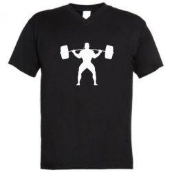 Мужская футболка  с V-образным вырезом Спортсмен со штангой - FatLine