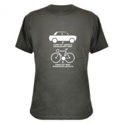 Камуфляжная футболка Сравнение велосипеда и авто - FatLine