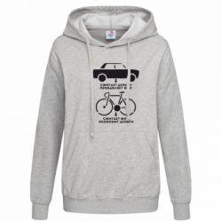 Женская толстовка Сравнение велосипеда и авто - FatLine