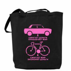 Сумка Сравнение велосипеда и авто - FatLine
