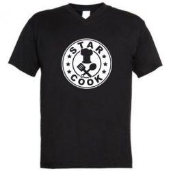 Мужская футболка  с V-образным вырезом Star Cook - FatLine