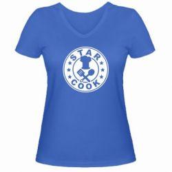 Женская футболка с V-образным вырезом Star Cook - FatLine