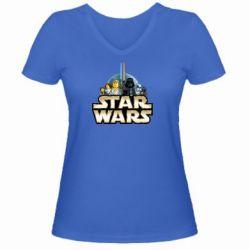 Женская футболка с V-образным вырезом Star Wars Lego - FatLine