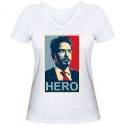Женская футболка с V-образным вырезом Stark Hero - FatLine