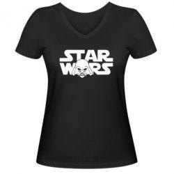 Женская футболка с V-образным вырезом StarWars Logo - FatLine