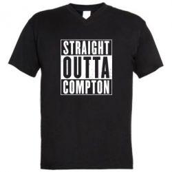 Мужская футболка  с V-образным вырезом Straight outta compton - FatLine