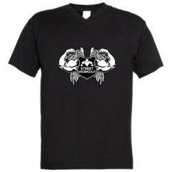 Мужская футболка  с V-образным вырезом Street Workout Крылья - FatLine